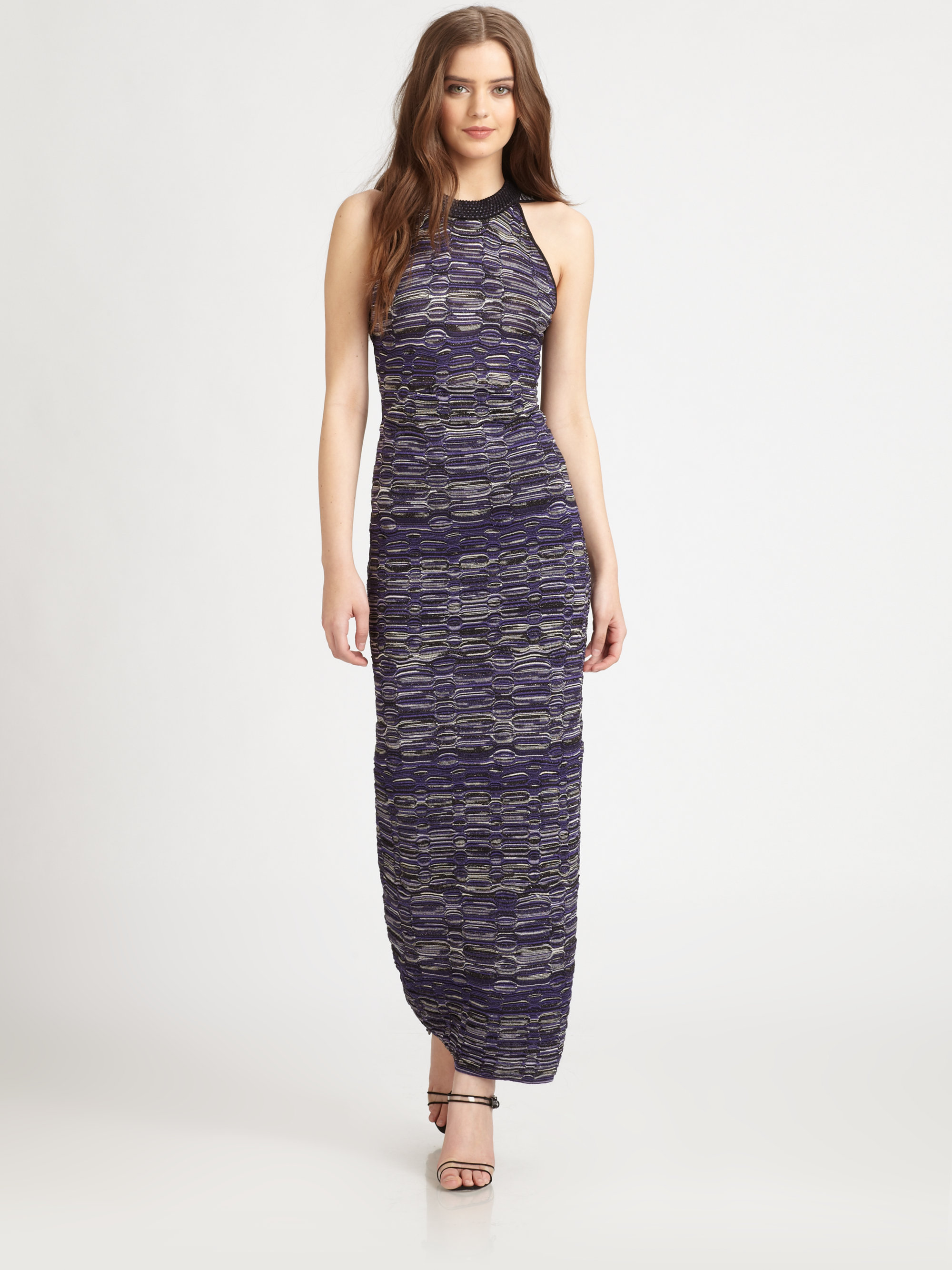 Knit Maxi Dress Pattern : M missoni Multipattern Knit Maxi Dress in Gray Lyst