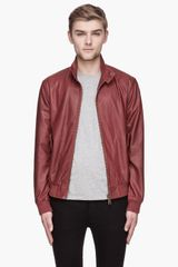McQ by Alexander McQueen Burgundy Red Goat Leather Bomber - Lyst