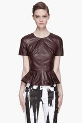 McQ by Alexander McQueen Deep Burgundy Goat Leather Peplum Blouse - Lyst