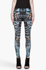 McQ by Alexander McQueen Teal and Black Kaleidoscopic Shell Printed Leggings - Lyst