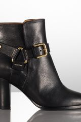 Ralph Lauren Collection Melia Leather Buckled Bootie - Lyst