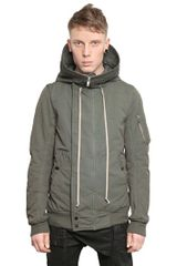 Rick Owens Cotton Murray Hooded Bomber Jacket - Lyst