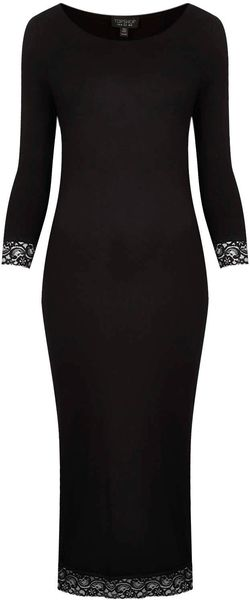 Topshop Lace Trim Plain Midi Dress - Lyst