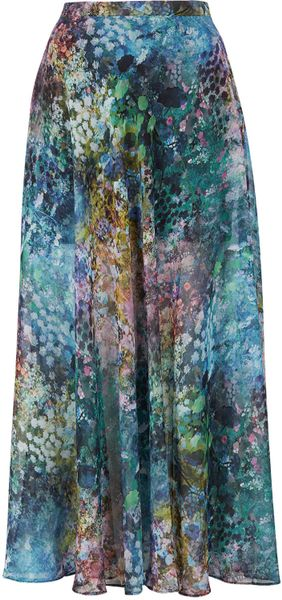 Topshop Tall Blurry Floral Maxi Skirt - Lyst