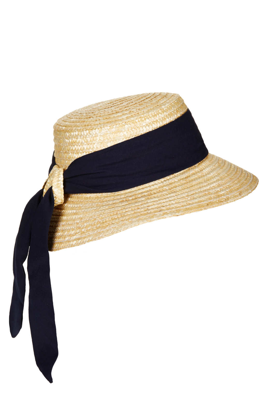 Lyst - TOPSHOP Structured Ribbon Boater Hat in Black beab9db69d2