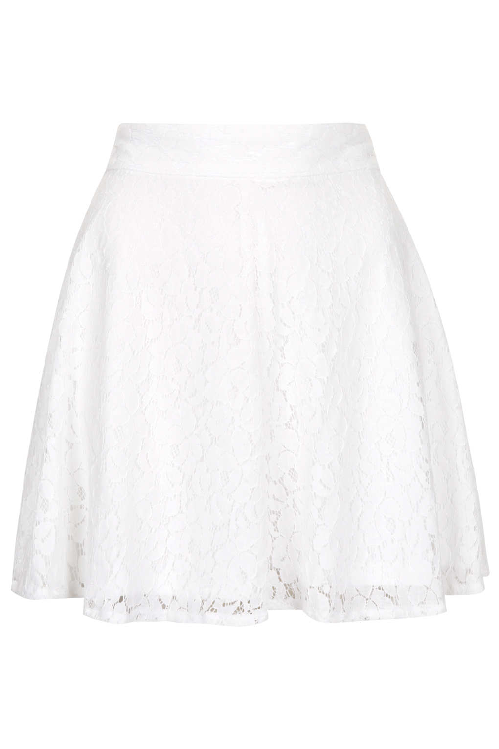 Topshop High Waisted Lace Skater Skirt in White | Lyst
