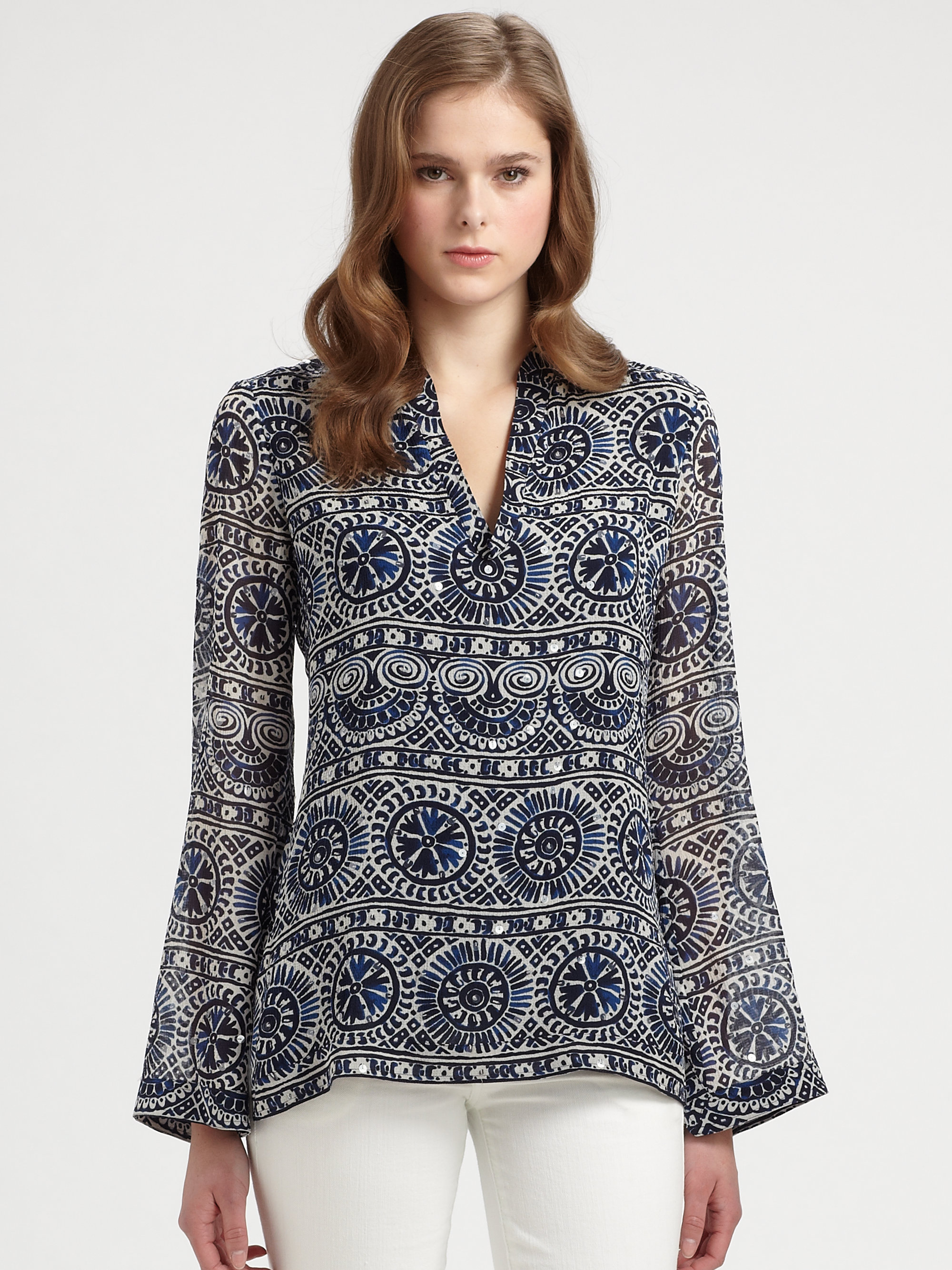 ca652362abc Tory Burch Stephanie Tunic in Blue - Lyst
