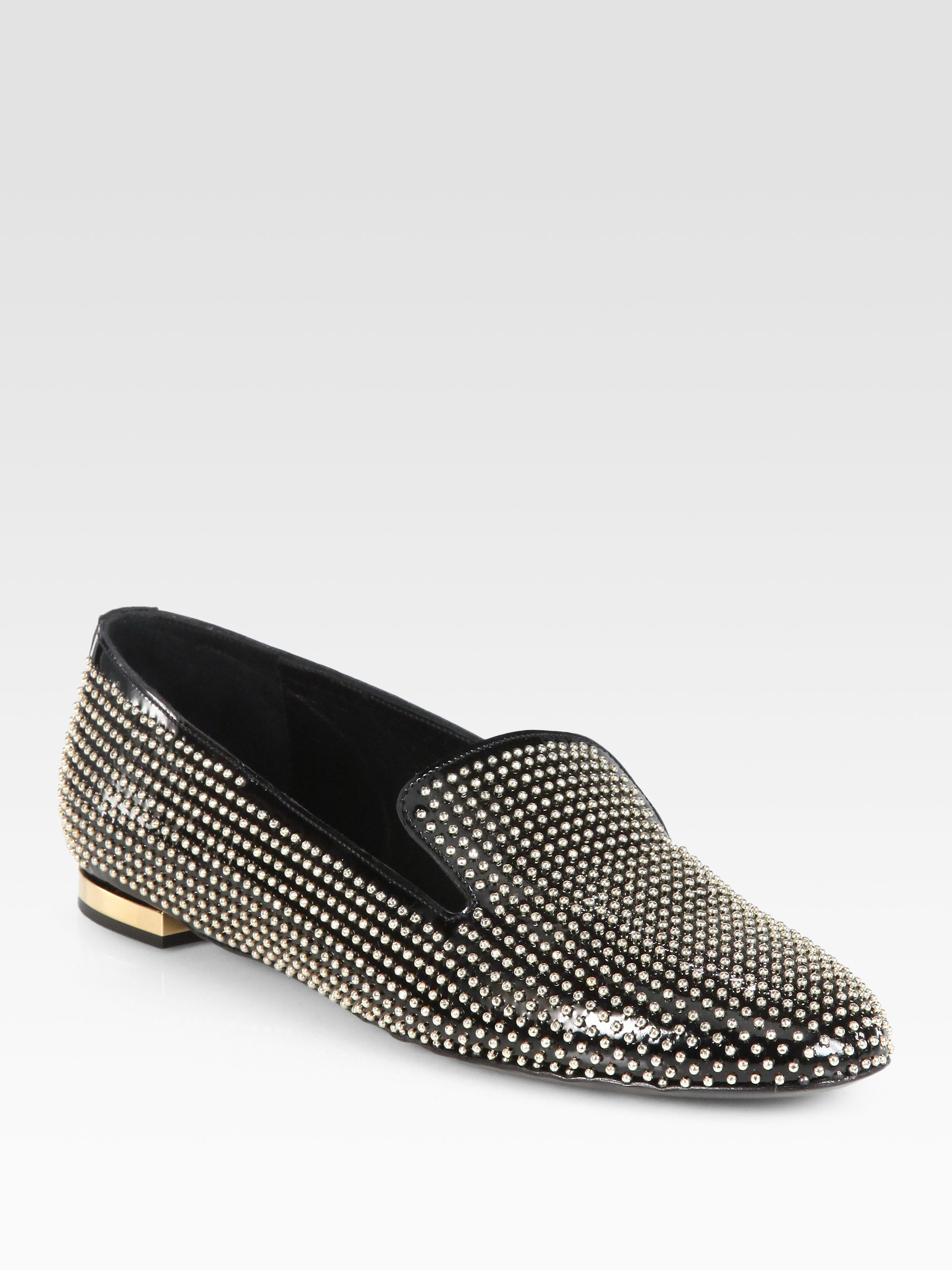 fd895d320c3 Lyst - Burberry Prorsum Studded Patent Leather Smoking Slippers in ...