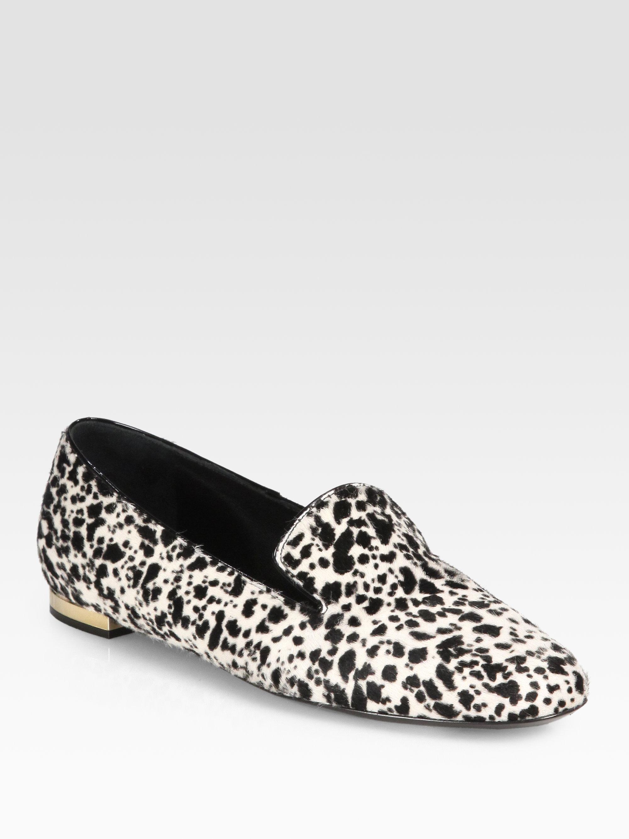 928d65e1bd8 Lyst - Burberry Prorsum Animalprint Calf Hair Smoking Slippers in Black