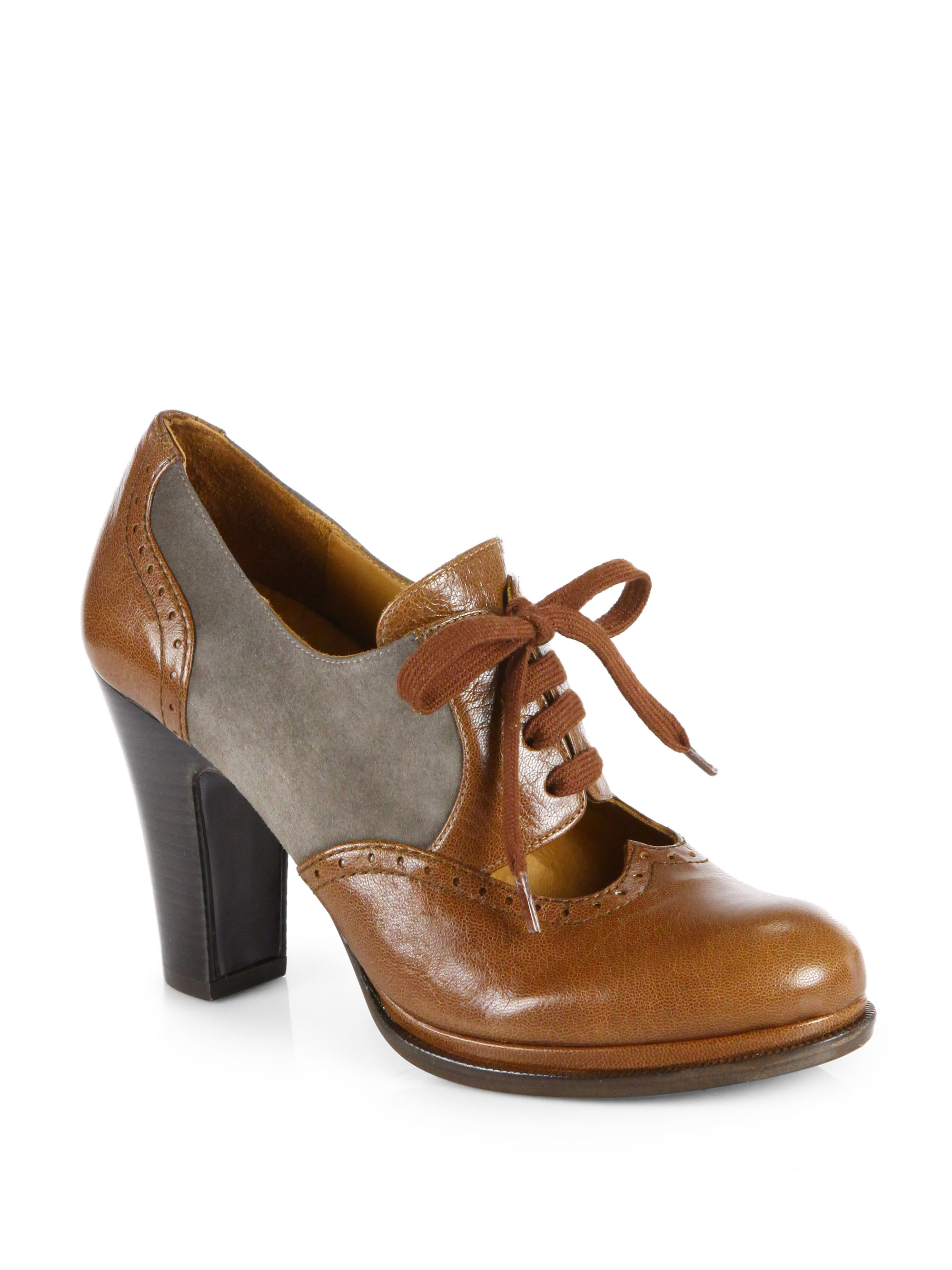 Chie mihara Brizna Leather Suede Laceup Oxford Pumps in Brown  Lyst