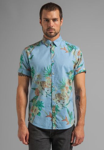Scotch & Soda Ss Hawaiian Woven Shirt in Blue - Lyst