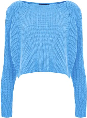 Topshop Knitted Rib Detail Crop Jumper - Lyst