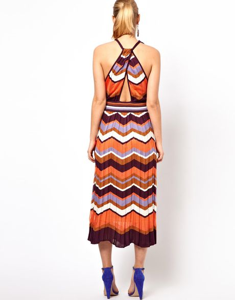 M Missoni Classic Vneck Midi Dress In Chevron Knit In