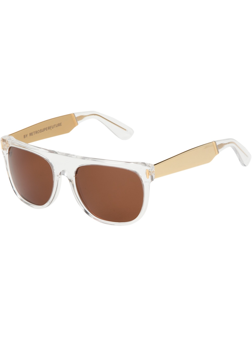 flat top sunglasses  Retrosuperfuture Flat Top Francis Crystal Sunglasses in Natural ...