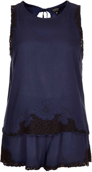 Topshop Embroidery Cami and Shorts Pj Set - Lyst