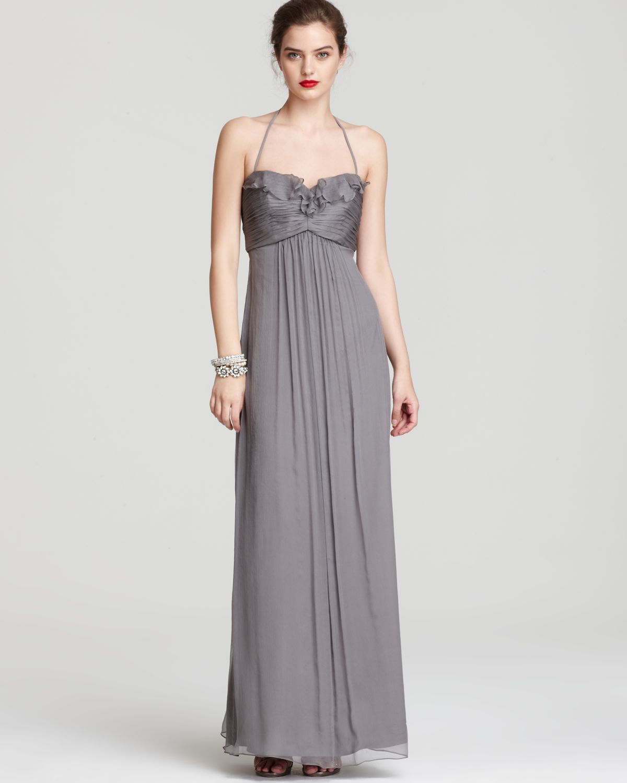 Contemporary Amsale Chiffon Halter Gown Festooning - Wedding and ...