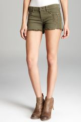 Blanknyc Shorts Olive Embroidered Cutoff in Propaganda Wash - Lyst