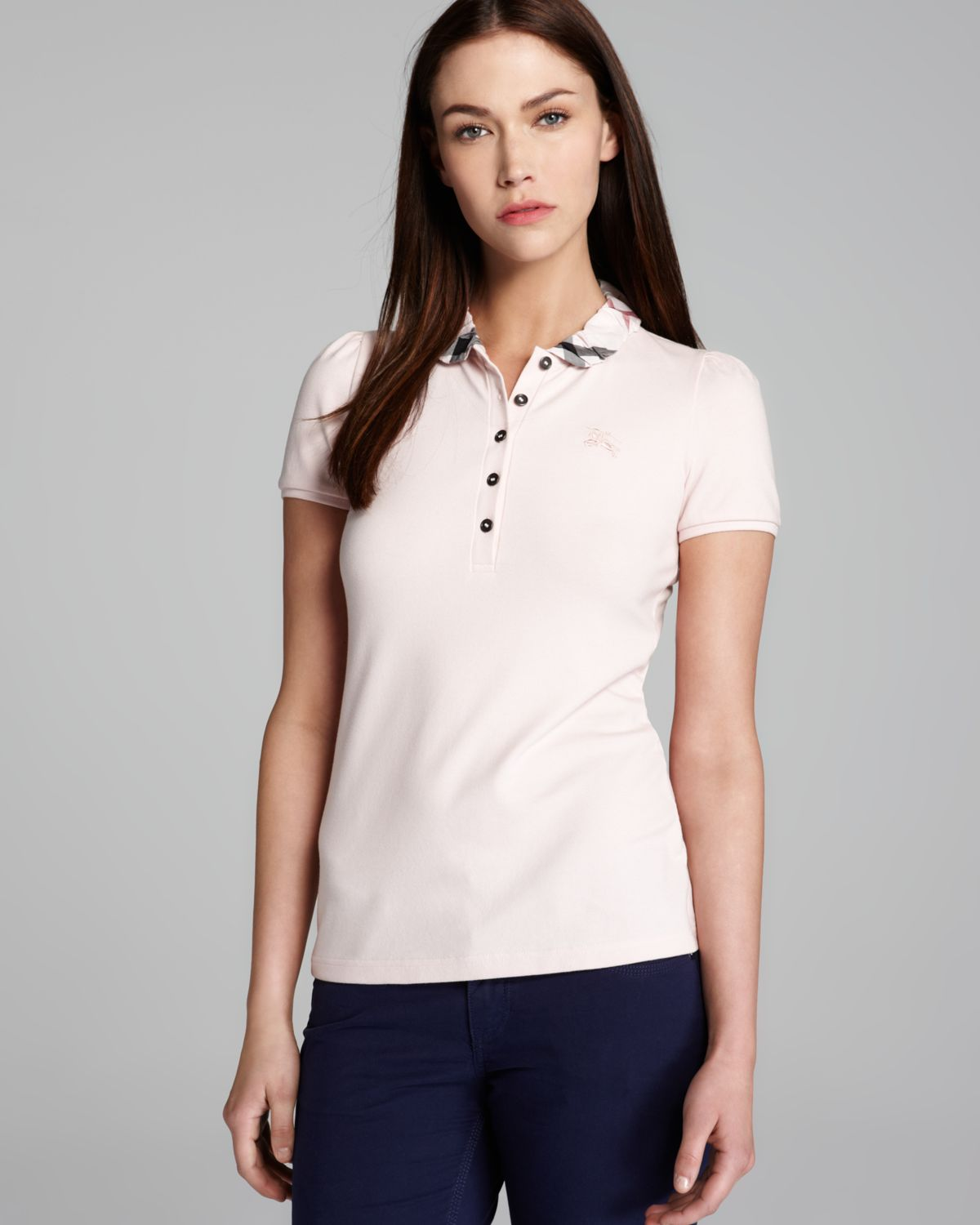 Burberry Brit Polo Shirt With Check Collar In White Ice