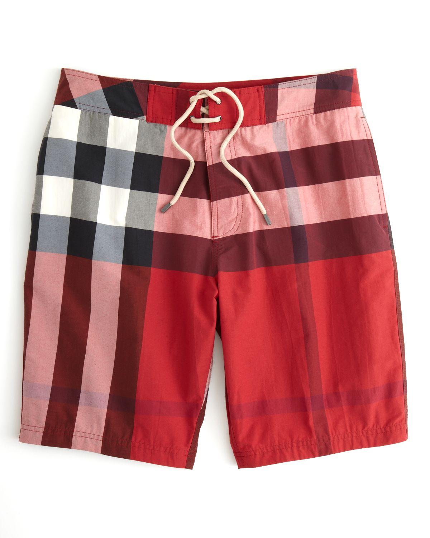 c7e8995016 Burberry Brit Laguna Check Swim Trunks in Red for Men - Lyst