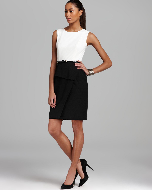 e6eef7b7311e5 Lyst - Calvin Klein Belted Dress Peplum in White