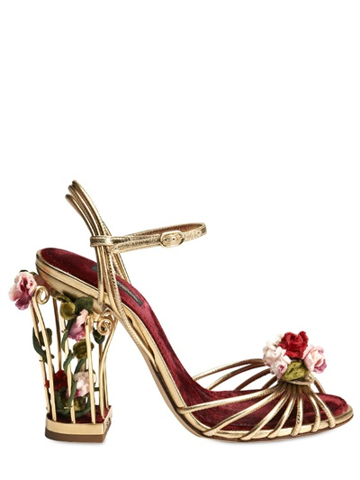 3d75260c3be Lyst - Dolce   Gabbana 105mm Rose Calf Leather Cage Sandals