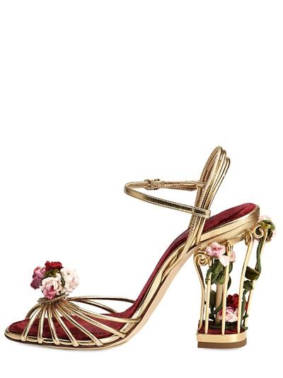 301ec039e85 Lyst - Dolce   Gabbana 105mm Rose Calf Leather Cage Sandals