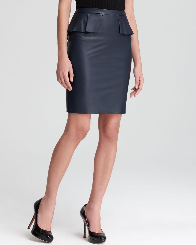 elie tahari leather skirt in blue navy sapphire lyst