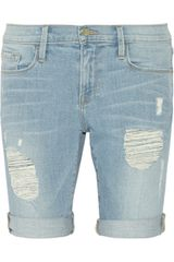 Frame Denim Le Garcon Distressed Bermuda Shorts - Lyst