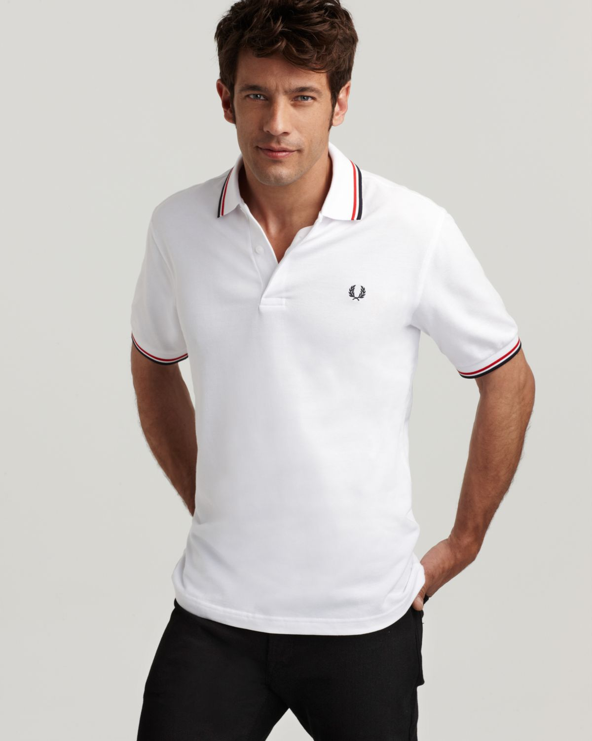 fred perry tipped logo polo regular fit in white for men. Black Bedroom Furniture Sets. Home Design Ideas