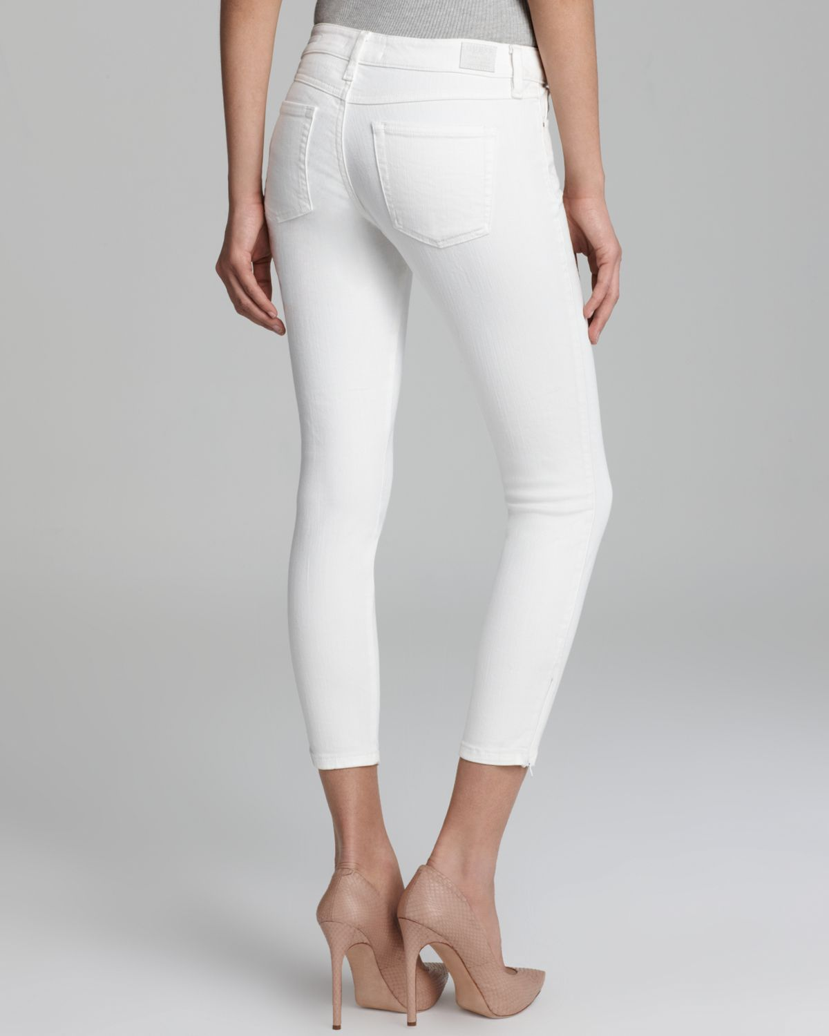 Guess Jeans Brittney Zip Cropped in White | Lyst
