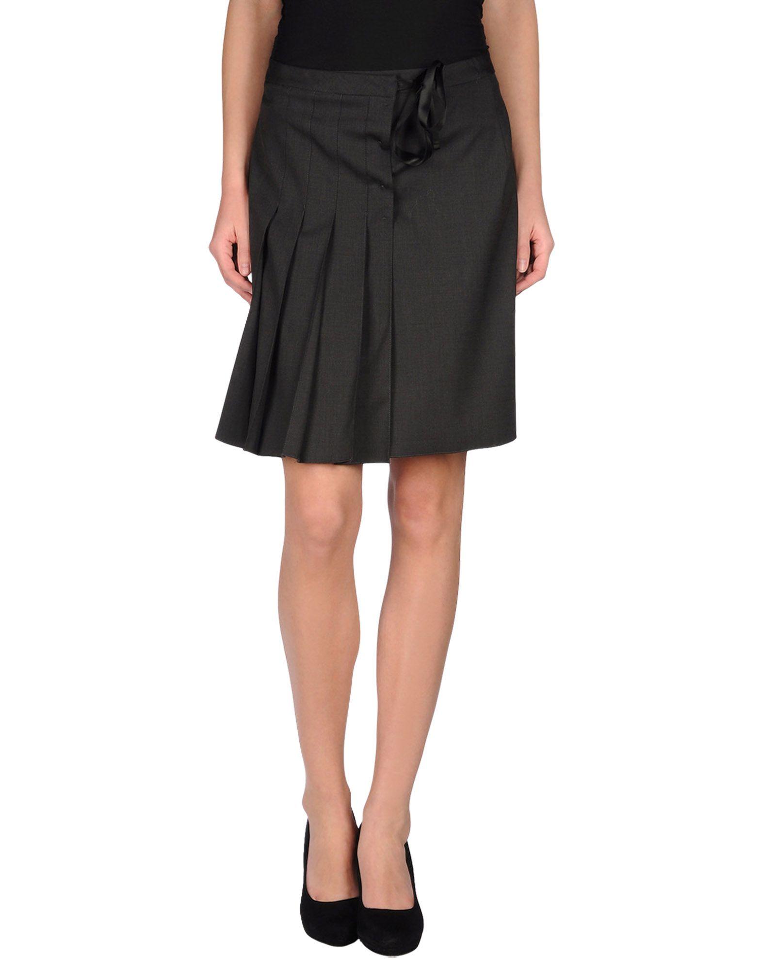 jil sander navy knee length skirt in gray lyst