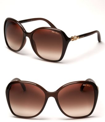 Jimmy Choo Oversized Crystal Temple Sunglasses - Lyst