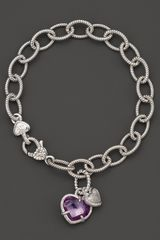 Judith Ripka Sterling Silver Pave Heart and Stone Heart Charm Bracelet with Purple Crystal and White Sapphires - Lyst
