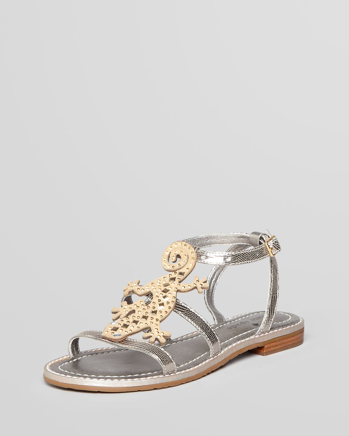 9d666a796 Lyst - Kate Spade Sandals Slick Lizard Flat in Metallic