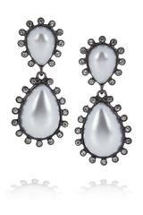 Kenneth Jay Lane Gunmetalplated Crystal and Resin Clip Earrings - Lyst