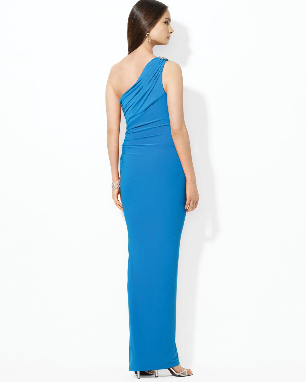 Lyst - Lauren By Ralph Lauren Floor Length One Shoulder Brooch Dress ...