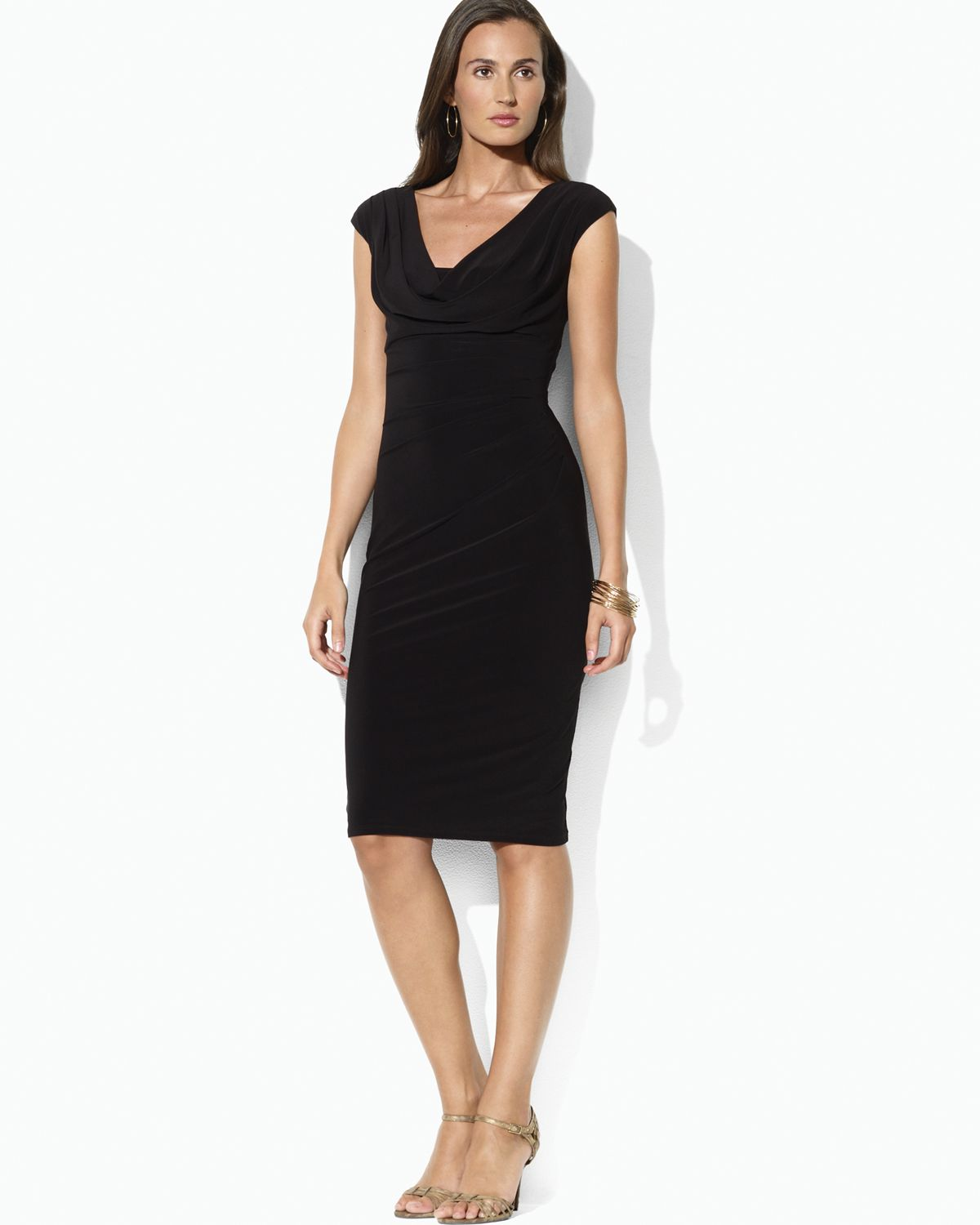 Lauren By Ralph Lauren Cowl Neck Cap Sleeve Dress In Black