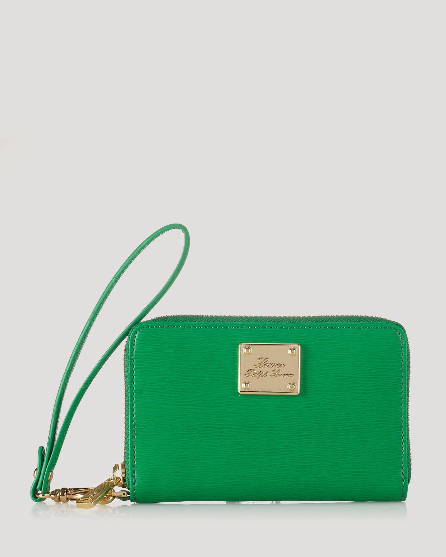 Lyst - Lauren by Ralph Lauren Iphone Wristlet Newbury Leather in Green 7efd7f42f525d