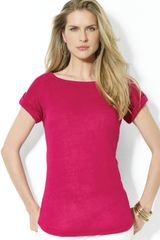 Lauren by Ralph Lauren Cap Sleeved Linen Boat Neck Top - Lyst