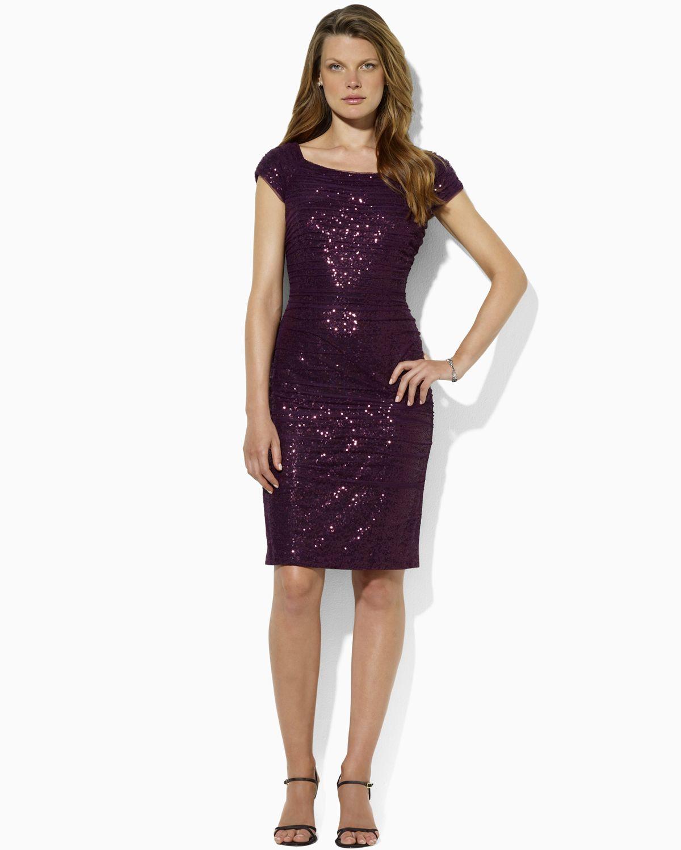 Lyst - Lauren By Ralph Lauren Open Neck Sequin Dress in Purple