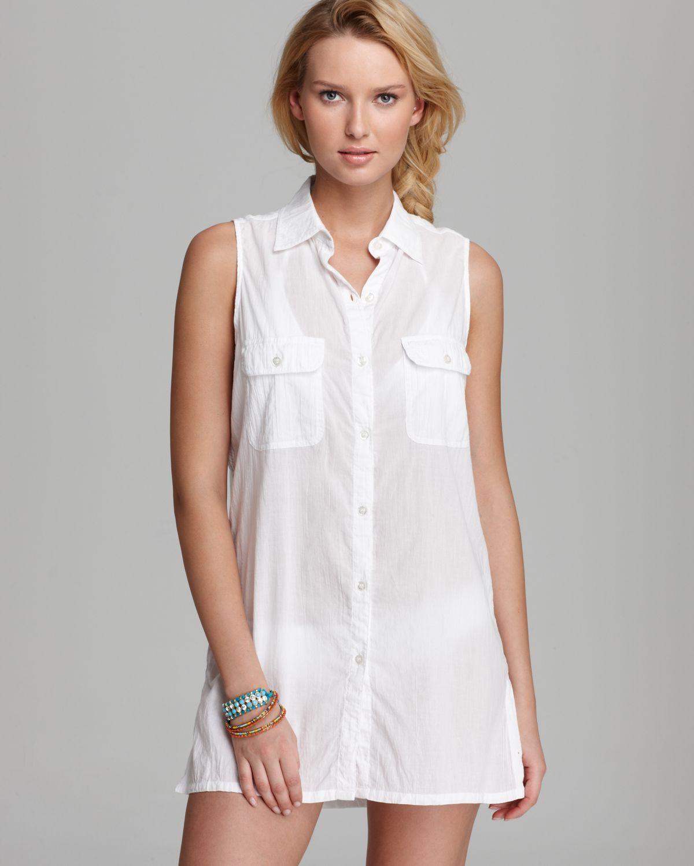 2cc1210f55105d Lyst - Lauren by Ralph Lauren Crushed Cotton Sleeveless Shirt Dress ...