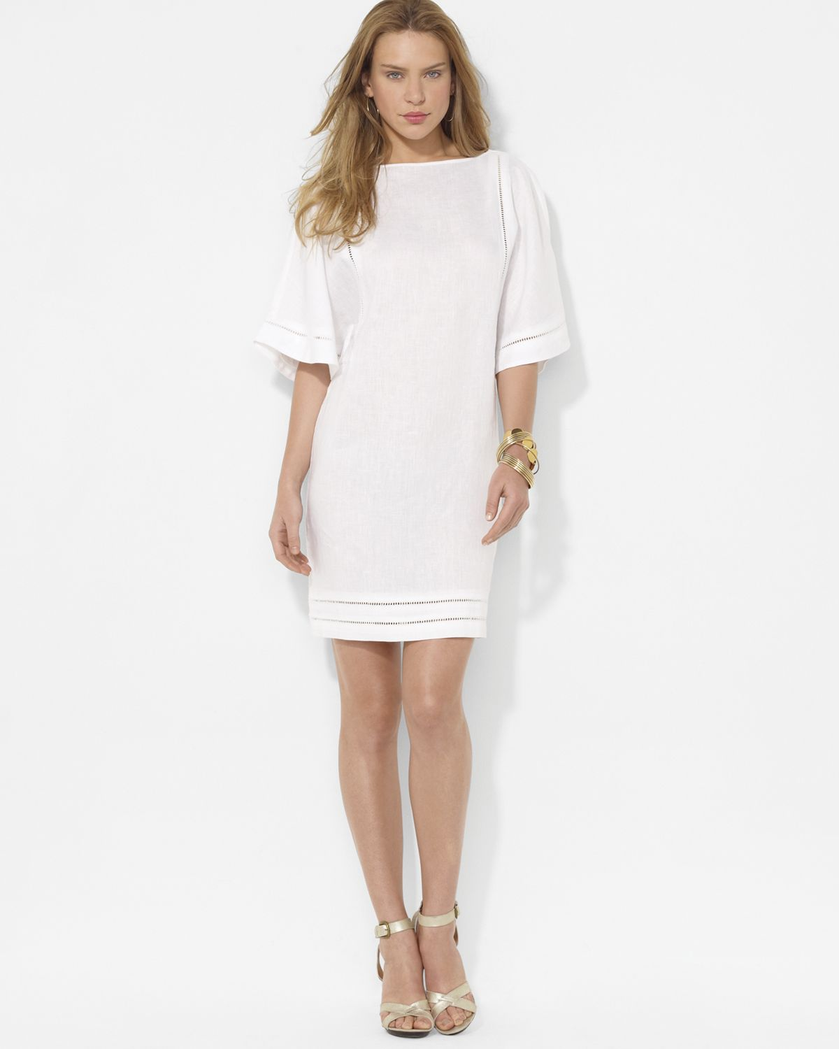 lauren by ralph lauren linen boat neck dress in white lyst