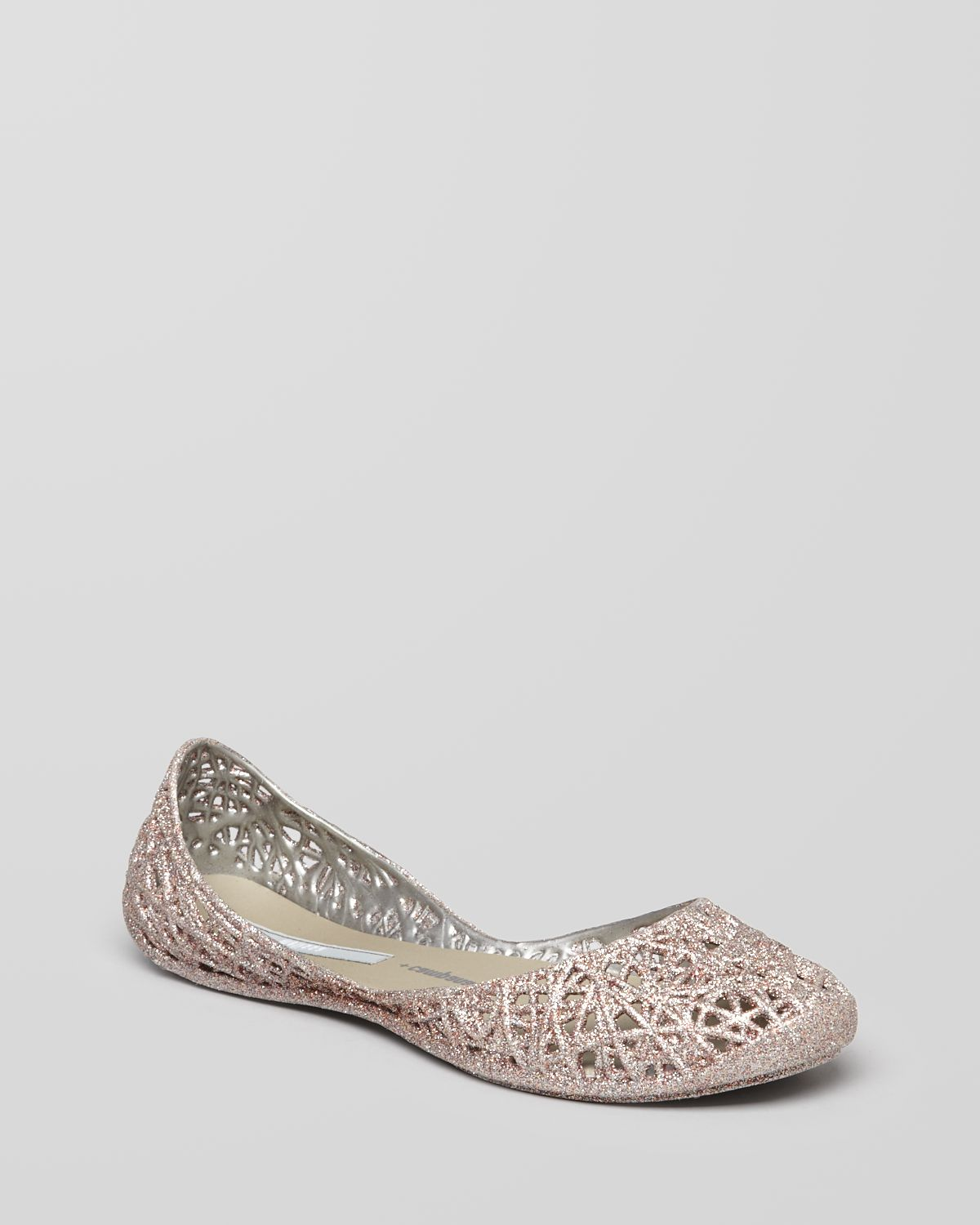 Silver Flat Jelly Shoes