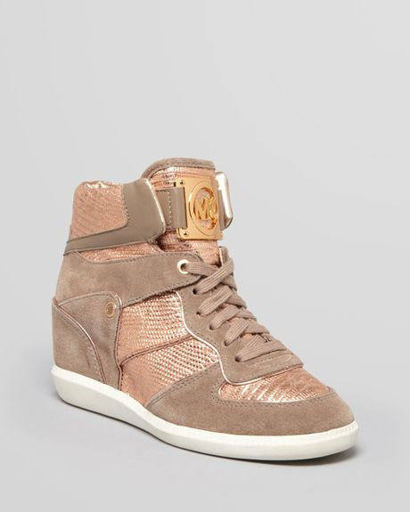 michael michael kors nikko high top sneaker high rose gold. Black Bedroom Furniture Sets. Home Design Ideas
