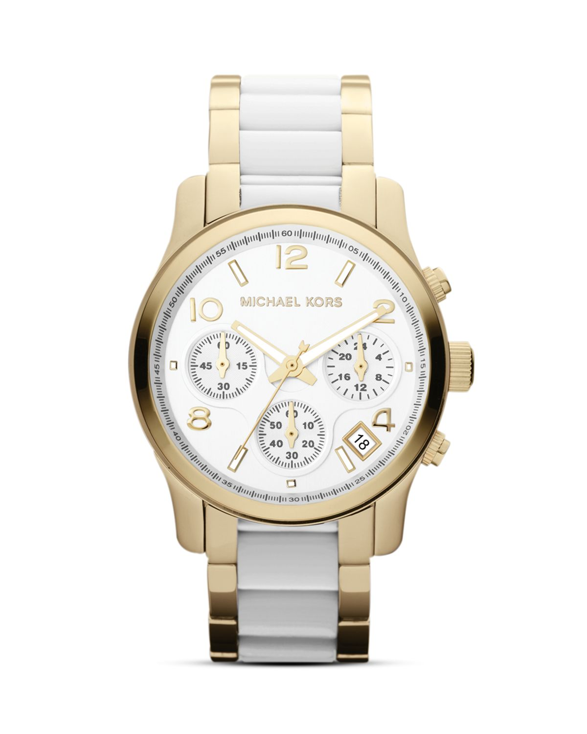 michael kors runway 38mm in gold gold white lyst