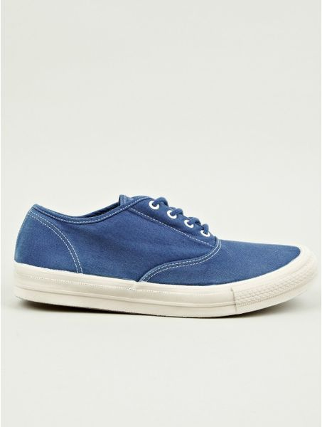 nonnative mens dweller overdyed canvas deck shoes in blue