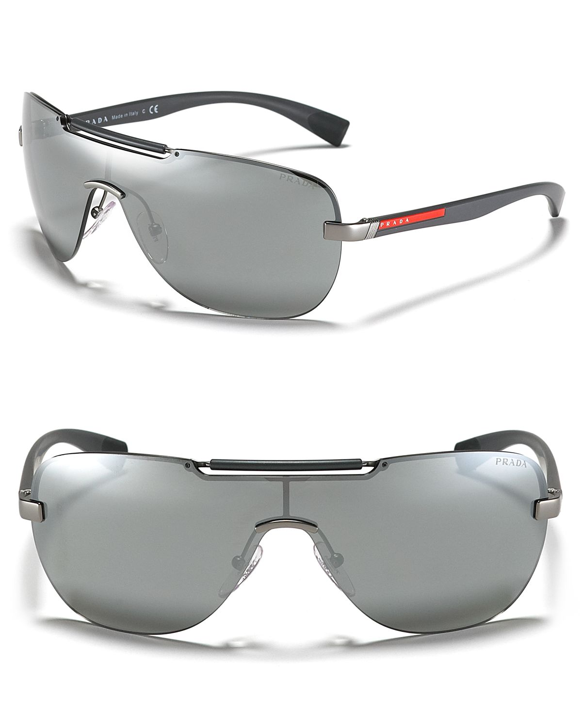 8c010dc850a16 Prada Linea Rossa Shield Thin Temple Sunglasses in Metallic - Lyst