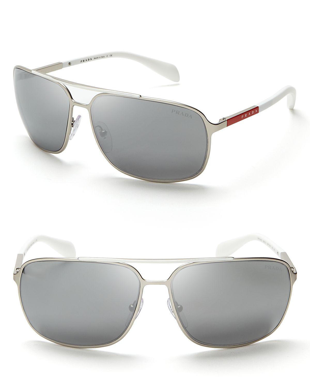 6fb84e0fafbe Lyst - Prada Mirrored Navigator Sunglasses in Metallic for Men