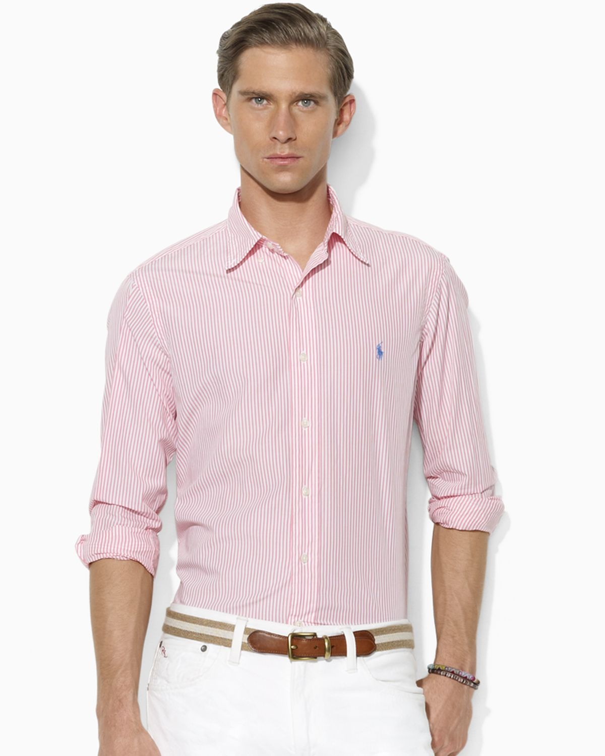 Ralph lauren polo custom fit long sleeved striped button for Pink and white ralph lauren shirt