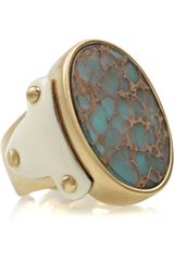 Roberto Cavalli Goldplated Jasper Ring - Lyst